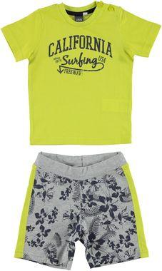 Completo 100% cotone con t-shirt e pantalone corto fantasia california ido VERDE-GRIGIO - 8073