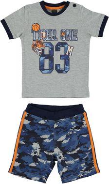 Completo t-shirt e pantaloncino camouflage 100% cotone ido GRIGIO-BLU-8008
