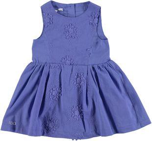 Elegante abito scamiciato 100% cotone ricamato a fiori ido BLUE - 3527
