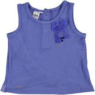 Canotta in viscosa elasticizzata con strass e fiocco ido BLUE - 3527