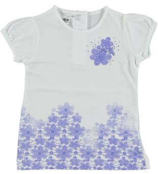 T-shirt 100% cotone con maniche a bombolino e balza floreale ido BIANCO - 0113