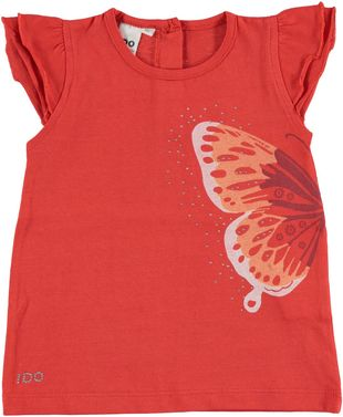 T-shirt 100% cotone con bellissima farfalla ido CORALLO - 2232