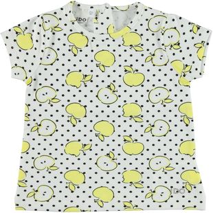 T-shirt in cotone elasticizzato con stampa frutti e pois ido BIANCO-GIALLO-6F94