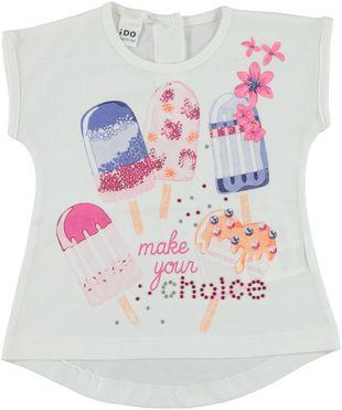 Deliziosa maxi t-shirt 100% cotone con gelati serigrafati ido BIANCO - 0113