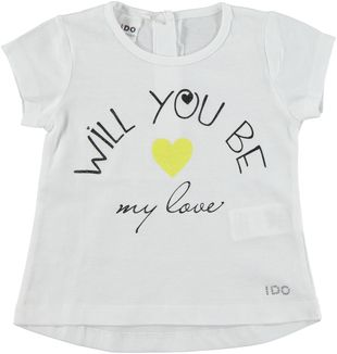T-shirt 100% cotone con cocomero e cuoricini ido BIANCO - 0113