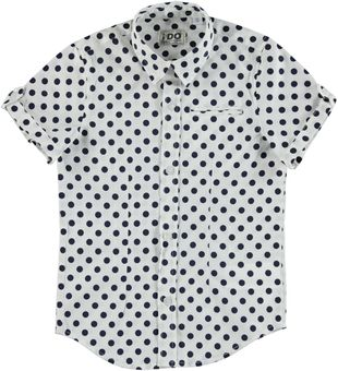 Camicia elasticizzata a manica corta con stampa a pois ido BIANCO-BLU - 6H33