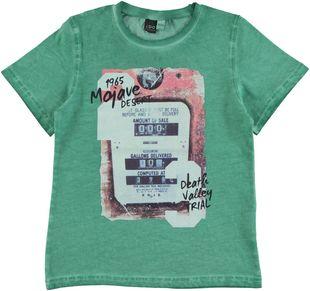 T-shirt 100% cotone con stampa vintage ido VERDE - 5032