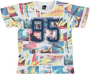 T-shirt 100% cotone con stampa vacanze al mare ido BIANCO - 0113