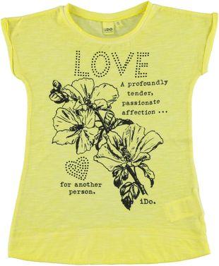 Colorata maxi t-shirt 100% cotone con romantica serigrafia ido GIALLO - 1417