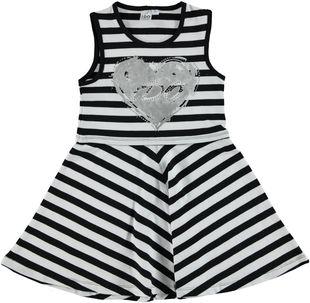 Vestito smanicato in cotone elasticizzato con cuore e strass ido BIANCO-NERO - 8057