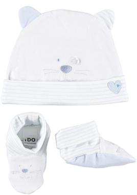 Kit cappellino e babbucce in cotone elasticizzato ido