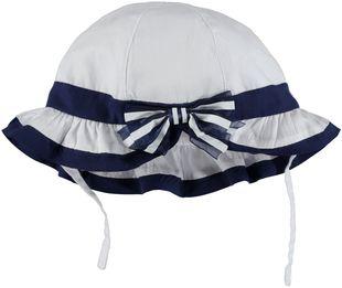 Cappello 100% cotone con fiocco ido BIANCO-BLU - 8020