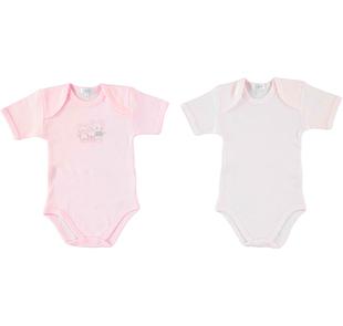 Coppia di body 100% cotone per neonata ido ROSA - 2711