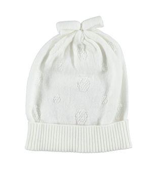 Cappellino modello cuffia con fiocco ido PANNA - 0112