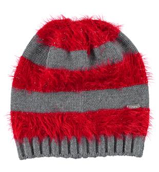 Morbido cappellino modello cuffia maglia rasata ed effetto pelliccia ido GRIGIO-ROSSO - 8016