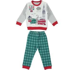 Pigiama per bambino stampa stile british con pantalone a quadretti ido GRIGIO-3234