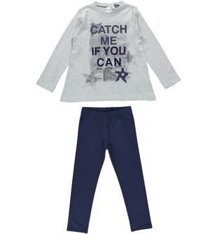 Completo bambina due pezzi con maglietta con stelle e glitter ido GRIGIO-BLU - 8225