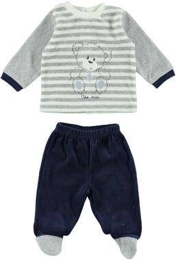 Tutina due pezzi con maglietta con orsetto e pantaloni con piedino ido GRIGIO-BLU - 8008