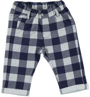 Pantalone a quadri con risvoltino alla caviglia ido GRIGIO MELANGE-BLU - 6Q04