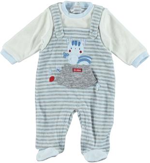 Tutina intera neonato modello finta salopette rigata ido AZZURRO-GRIGIO - 8019