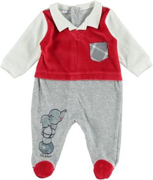 Deliziosa tutina neonato in ciniglia di cotone con finta camicia ido ROSSO-GRIGIO - 8015