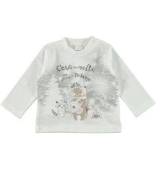 Maglietta interlock 100% cotone con orsetto ido PANNA-0112