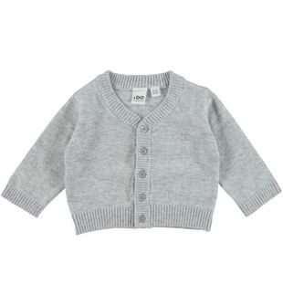Cardigan in tricot tinta unita ido GRIGIO MELANGE-8991