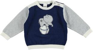 Maglia in tricot con elefantino ido BLU-GRIGIO - 8009