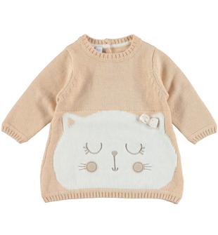 Vestitino in tricot con gattino ido BEIGE-PANNA-8181