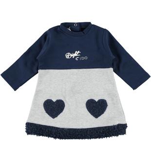 Vestitino neonata modello a trapezio in felpa garzata di cotone  BLU-GRIGIO - 8009