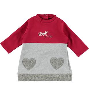 Vestitino neonata modello a trapezio in felpa garzata di cotone  BORDEAUX-GRIGIO-8348