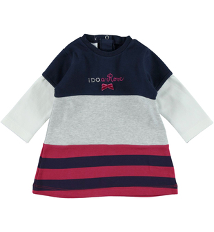 Vestitino neonata 100% cotone con inserti di tessuto a contrasto  BLU-GRIGIO-8009