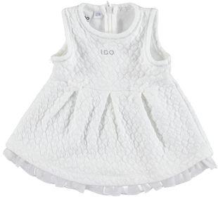 Vestitino neonata in matelassè con disegno damascato ido PANNA-0112
