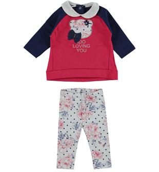 Completo neonata modello due pezzi con leggings fiori e pois  BORDEAUX-GRIGIO-8348