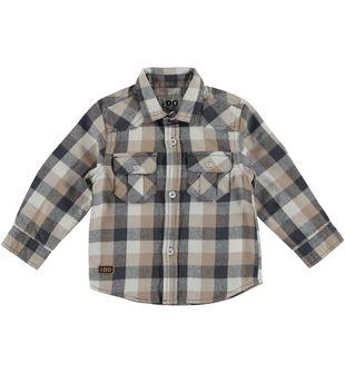 Camicia a quadri in flanella 100% cotone ido BEIGE - 0414