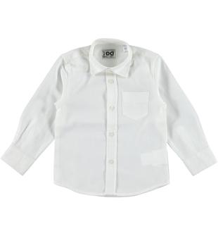 Camicia bambino classica a manica lunga in twill di cotone ido PANNA - 0112