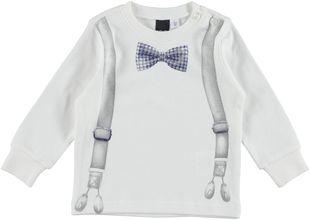 Originale e stilosa maglietta 100% cotone stampa bretelle e papillon ido PANNA - 0112