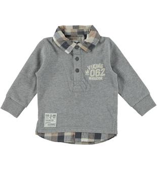 Polo bambino a manica lunga in jersey garzato  GRIGIO MELANGE-8970