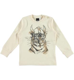 Maglietta 100% cotone con stampa tigre vichinga  ECRU'-0133