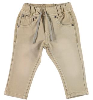 Comodo pantalone in speciale felpa effetto vissuto ido BEIGE - 0414