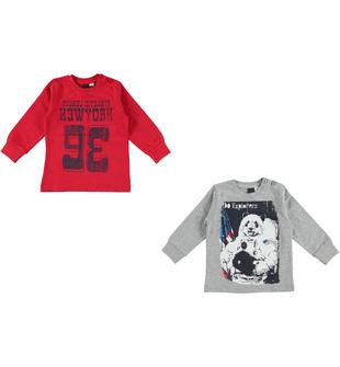 Kit con due magliette bambino  100% cotone mano calda ido ROSSO-GRIGIO - 8015