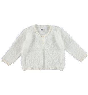 Cardigan per bambina lurex effetto pelliccia ido PANNA - 0112