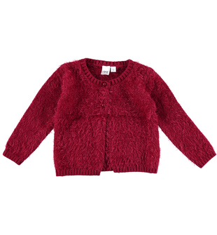 Cardigan per bambina lurex effetto pelliccia ido BORDEAUX-2537