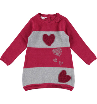 Vestito con cuori in tricot ido ROSSO-GRIGIO - 8015