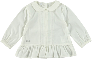 Camicia bambina in popeline stretch con colletto stondato ido PANNA-0112