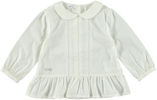 Camicia bambina in popeline stretch con colletto stondato ido PANNA - 0112