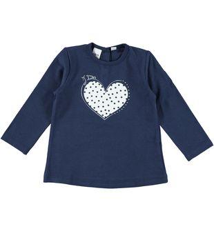Calda maglietta girocollo con cuore glitter e strass ido NAVY - 3854