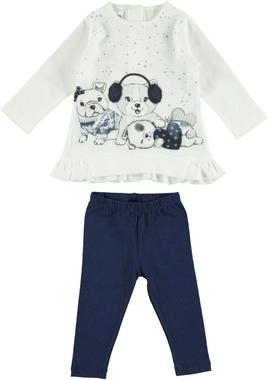 Completo maxi maglia 100% cotone con cuccioli e leggings ido PANNA-BLU-8132
