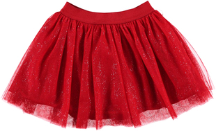 Gonna bambina in tulle glitter ido ROSSO-2253
