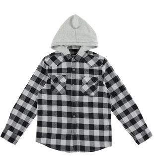 Camicia bambino fantasia a quadri 100% cotone ido NERO - 0658